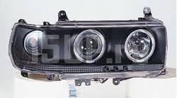 Фары передние линзовые черные, со светящимися ободками и светодиодной подсветкой на Toyota Land Cruiser 80