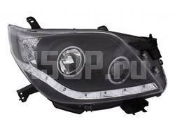 Фары передние линзовые черные со светящимися ободками и светодиодной подсветкой на Toyota Land Cruiser Prado 150
