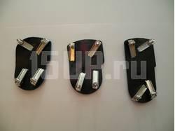 Накладки синие металлические на педали универсальные, для автомобилей с МКПП, комплект 3 шт.