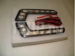 Светодиодные черно-хромированные DRL фары дневного света