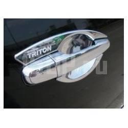 """Хромированные накладки под ручки дверей, с надписью """"Triton"""" на Mitsubishi L200 Triton"""
