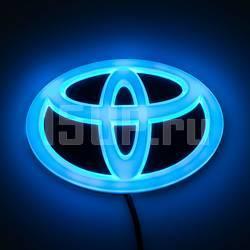 Комплект светящихся эмблем Toyota на решетку радиатора и крышку багажника, 60 x 90 мм